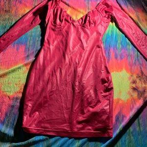 Pink leather mini dress